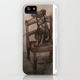 Watercolor Portrait Painting of a Boy With His Dog iPhone Case