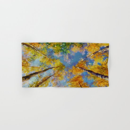Fall trees in the sky Hand & Bath Towel