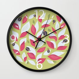 Pretty Plant With White Pink Leaves And Ladybugs Wall Clock
