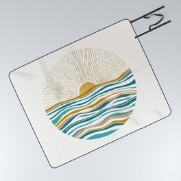 The Sun and The Sea - Gold and Teal Picnic Blanket