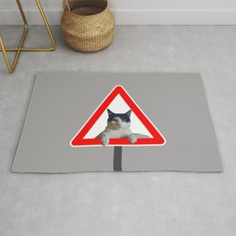 Right of way Black and white Cat Sign Rug