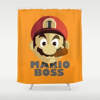 boss Shower Curtains featuring Mario Boss by Tony Vazquez