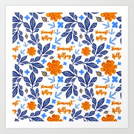 Blue and Orange Floral Feminist Killjoy Print Art Print