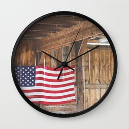Rural American Flag in a Traditional Rustic Barn Wall Clock