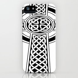 St Patrick's Day Celtic Cross Black and White iPhone Case