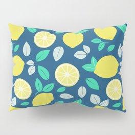 Summer Lemon Pattern in Navy Blue Pillow Sham