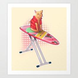 Hoverboard Cat Art Print
