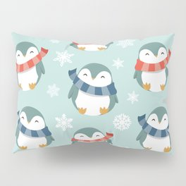 Winter penguins pattern Pillow Sham