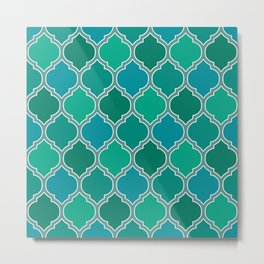 Teal Moroccan Lattice Pattern Metal Print