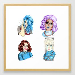 Drag Queen Fan Art feat. Adore, Kim Chi, Jinkx and Aquaria Framed Art Print