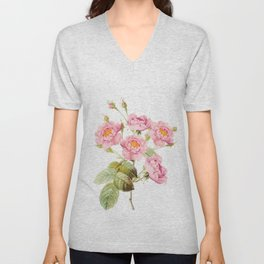 Vintage & Shabby Chic - Bunch of Pink English Roses Unisex V-Neck
