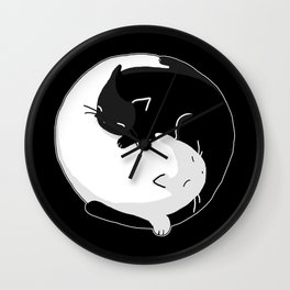 Yin Yang Cats Wall Clock
