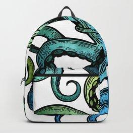 Octopus, Ocean Bue, Sea Green, Tentacles Backpack