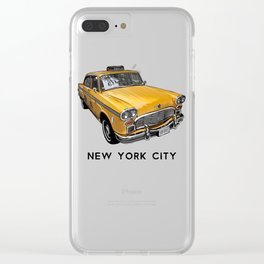 New York City Classic Yellow NYC Checker Taxi Cab Clear iPhone Case