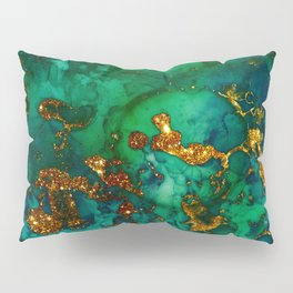 Emerald And Blue Glitter Marble Pillow Sham