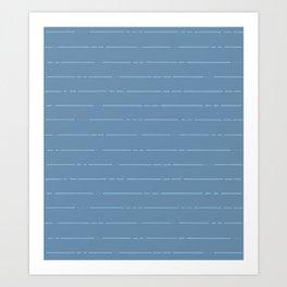 Broken stripes // Steel blue Art Print