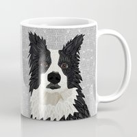 border collie Mugs featuring Beautiful Border Collie by ArtLovePassion