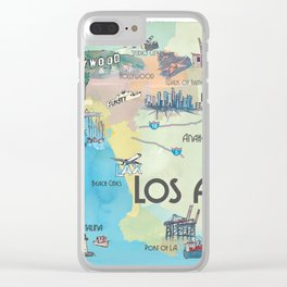 Greater Los Angeles Fine Art Print Retro Vintage Map with Touristic Highlights in colorful retro pri Clear iPhone Case