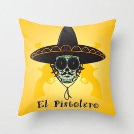 El Pistolero.Mexican sugar skull Throw Pillow