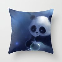 panda Throw Pillows featuring Panda by apofiss