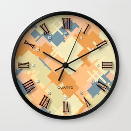 Abstract digital clock face #2: trendy modern colors with Roman numerals Wall Clock