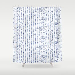Ancient Japanese Calligraphy // Dark Blue Shower Curtain