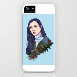 winter girl between pine cones and needles iPhone Case