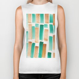 Stripe Brown Green  | 190213 Watercolour Abstract Painting Biker Tank