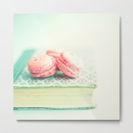 Pink Macaroons and Mint old book  Metal Print