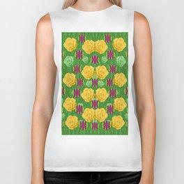roses dancing on a tulip field of festive colors Biker Tank