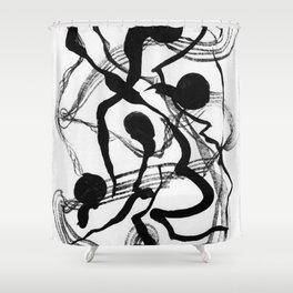 Abstract Black Strokes Shower Curtain
