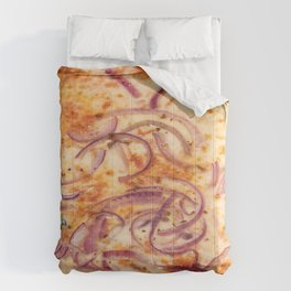 Close up shot of pizza with onions Comforters