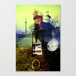 Tommy thompson park lighthouse in Toronto collage Canvas Print