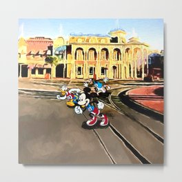 Mickey, Donald, and Goofy Race Down Main Street Metal Print