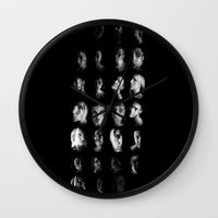 mythology Wall Clocks featuring Moon Cycle Mythology by Rhymes With Sky