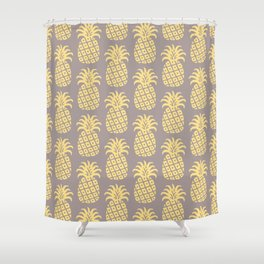 Mid Century Modern Pineapple Pattern Gray and Yellow Shower Curtain