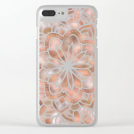 Mandala Rose Gold Flower Clear iPhone Case