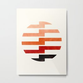 Minimalist Mid Century Circle Frame Burnt Sienna Zig Zag Colorful Lightning Bolt Geometric Pattern Metal Print
