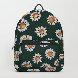 Daisies wildflowers breeze on Olive Green Minimal_hand painted gouache  Backpack