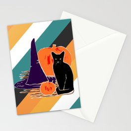 Witch Cat Pumpkin in Candy Corn Stationery Cards