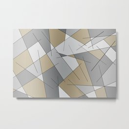 ABSTRACT LINES #1 (Grays & Beiges) Metal Print