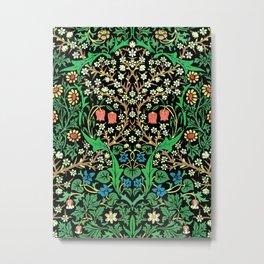 William Morris Jacobean Floral, Black Background Metal Print