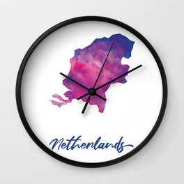 Map of The Netherlands in Watercolor Wall Clock