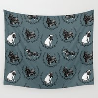 dogs Wall Tapestries featuring Dogs by Clara McAllister