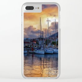 Sunset Boats Clear iPhone Case