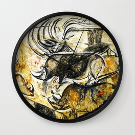 Panel of Rhinos // Chauvet Cave Wall Clock