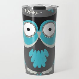BLUE OWL AND LEAVES Travel Mug