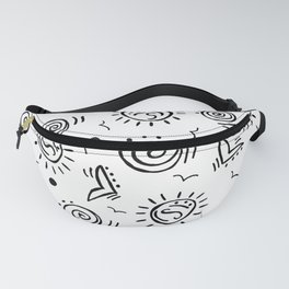 Doodle Drawing Seagulls Shells Sun - Black and White Fanny Pack