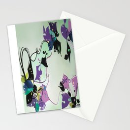 Mint- Abstract Floral Decoupage  Stationery Cards
