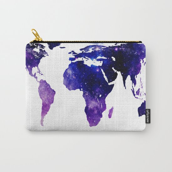 World Map Purple Blue Carry-All Pouch
